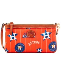 Dooney And Bourke Houston Astros Nylon Wristlet Orange