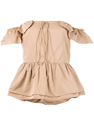 Rochas Layered Ruffle Bardot Top Nude Neutrals