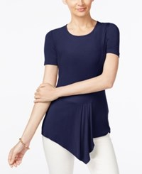 Eci Asymmetrical Hem Top Evening Blue