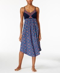 Lucky Brand Embroidered Slub Jersey Nightgown Navy Print