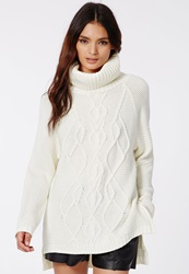 Missguided Sapphire Roll Neck Cable Sweater Dress Cream