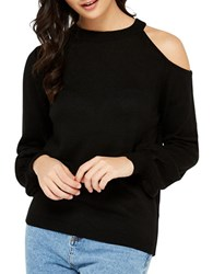 Miss Selfridge Long Sleeve Knit Top Black
