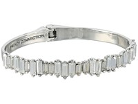 French Connection Baguette Hinged Cuff Bracelet Crystal Rhodium Bracelet Silver