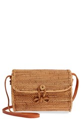 Street Level Cylinder Woven Crossbody Bag Brown Tan