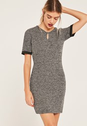 Missguided Grey Keyhole Cut Out Marl Bodycon Dress