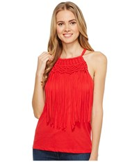 Ariat Fringe Tank Top Red Lacquer Women's Sleeveless