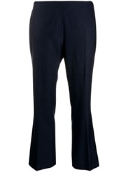 Berwich Cropped Kick Flare Trousers Blue