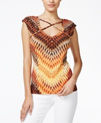 Guess Bailey Cap Sleeve Printed Top Setting Sun Bayley Yellow