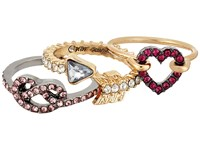 Betsey Johnson Pave Heart Pretzel Ring Set Red Ring