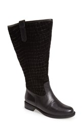 David Tate 'Best' Calfskin Leather And Suede Boot Black Calf Suede