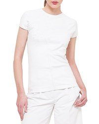 Akris Cap Sleeve Jersey Tee W Neoprene Flower Off White