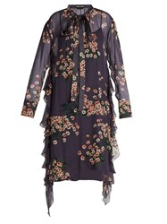 Rochas Daisy Print Tie Neck Silk Chiffon Dress Purple Multi