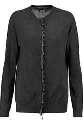 Lanvin Embellished Wool Cardigan Gray