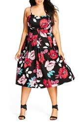City Chic Plus Size Women's Poppy Garden Fit And Flare Dress