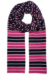 M Missoni Pink And Blue Striped Fine Knit Scarf