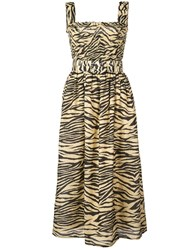 Nicholas Zebra Print Dress Brown