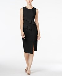 Thalia Sodi Ruffled Sheath Dress Only At Macy's Deep Black