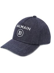 Balmain Denim Baseball Cap Blue