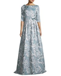 Theia Half Sleeve Floral Embellished A Line Gown Gray
