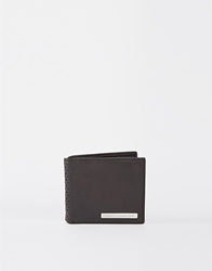 French Connection Leather Wallet With Brogue Detail Black