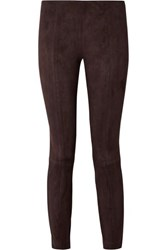 The Row Cosso Stretch Suede Skinny Pants Dark Brown