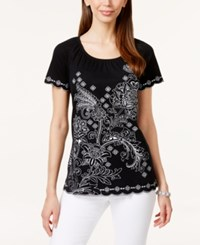Karen Scott Embroidered Short Sleeve Peasant Top Only At Macy's Deep Black