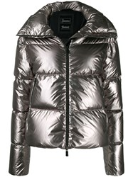 Herno Quilted Metallic Puffer Jacket Grey