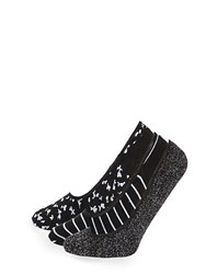 Juicy Couture Three Pack Classic No Show Socks Black