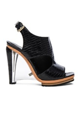 Rodarte Embossed Croc Leather Sandals In Black Animal Print