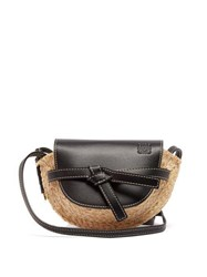 Loewe Gate Mini Leather And Raffia Cross Body Bag Black Multi