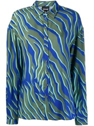 Just Cavalli Zebra Print Oversized Shirt Blue
