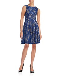 Gabby Skye Pleated Lace Dress Royal Nude