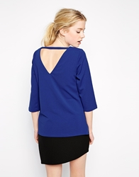 Girls On Film Crepe Blouse With Cut Out Back Blue