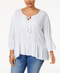 Eyeshadow Plus Size Ruffled Woven Peasant Top White