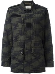 Saint Laurent Camouflage Military Jacket Green