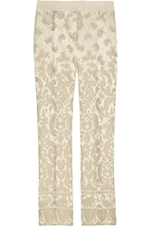 Philosophy Cropped Satin Brocade Straight Leg Pants White