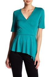 Three Dots Dacey Surplice Neck Blouse Green