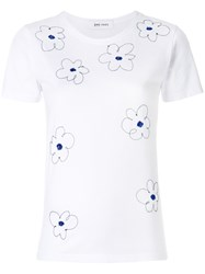 Jimi Roos Flowers Embroidered T Shirt White