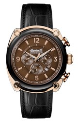 Ingersoll Watches 'S Michigan Leather Strap Chronograph Watch 45Mm Black Brown Rose Gold