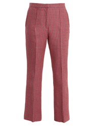 Msgm Mid Rise Cropped Hound's Tooth Wool Trousers Pink Multi