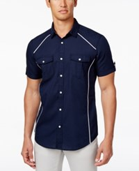 Inc International Concepts Men's Contrast Trim Cotton Shirt Only At Macy's Navy