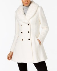 Guess Faux Fur Trim Skirted Peacoat White