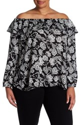 Hip Off The Shoulder Printed Long Sleeve Shirt Plus Size Black