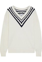 Iris And Ink Woman Lupine Pointelle Trimmed Intarsia Knit Sweater Cream