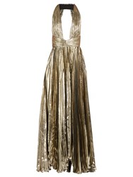 Maria Lucia Hohan Adina Deep V Neck Pleated Lame Gown Silver
