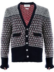 Thom Browne Patterned Cardigan Blue