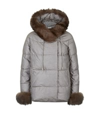 Max And Moi Fur Trim Revolver Parka Beige