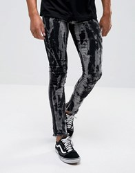 Granted Skinny Jeans In Black With Bleach And Raw Hem Black