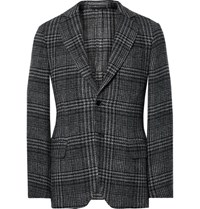 Massimo Piombo Mp Slim Fit Prince Of Wales Checked Wool And Cotton Blend Blazer Black