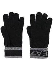 Emporio Armani Ea7 Logo Knit Gloves Black